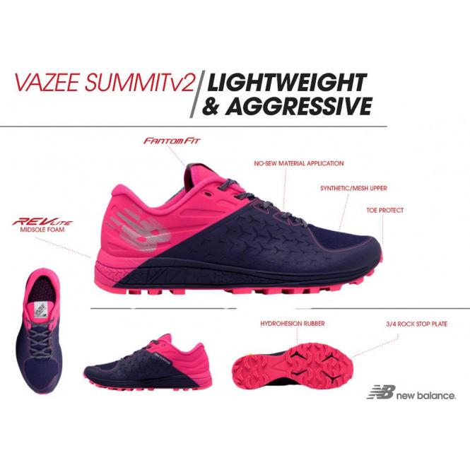 Vazee Summit Trail V2 Womens B STANDARD WIDTH Trail Running Shoes PinkDark Blue