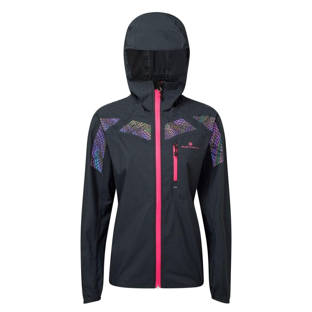 fba4f9e08b41 Infinity Nightfall Womens WATERPROOF  amp  WINDPROOF Running Jacket with Hi  Vis Graphics Black Azalea