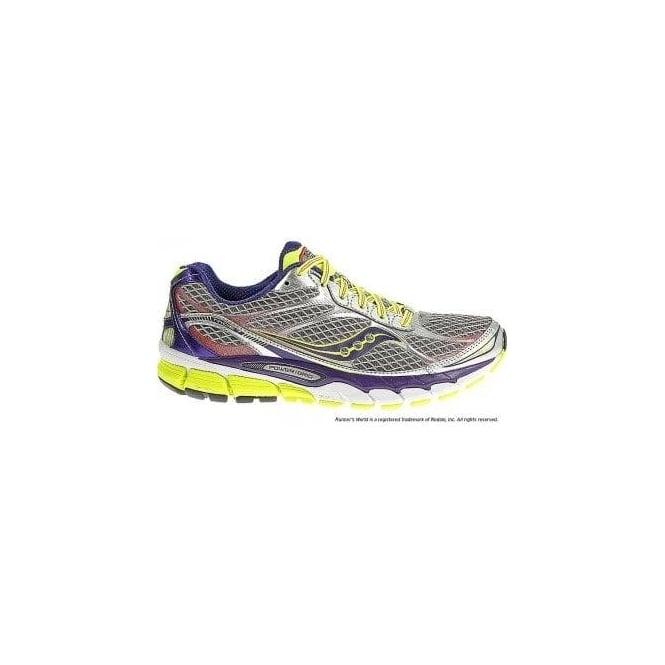 trampki wyprzedaż hurtowa najlepszy Saucony Ride 7 Road Running Shoes Silver/Purple/Citron Womens